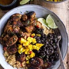 Cuban Chicken and Black Bean Quinoa Bowls with Fried Bananas.