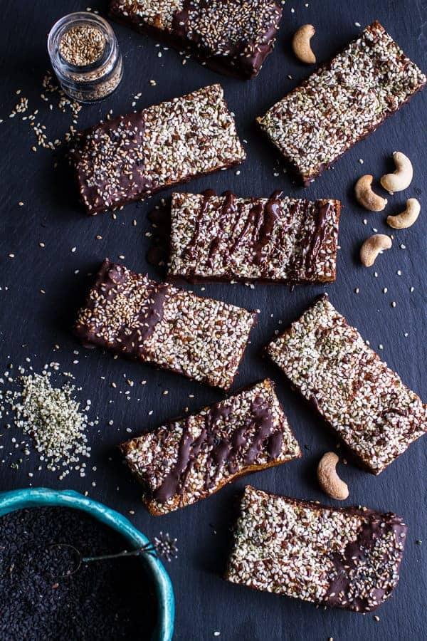 Dark Chocolate Dipped Crunchy Coconut Cashew Sesame Bars | halfbakedharvest.com @hbharvest