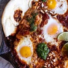 Indian Style Baked Eggs with Green Harissa + Naan.