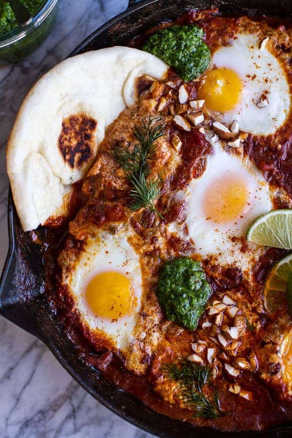 Northern Indian Style Baked Eggs with Green Harissa + Naan-8