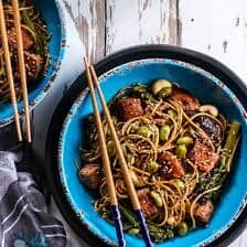 Sake and Ginger Soba Noodle Salmon Stir Fry.