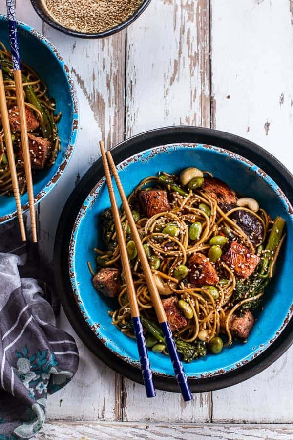 Sake and Ginger Soba Noodle Salmon Stir Fry | Holiday Detox- The Mean Green Smoothie | halfbakedharvest.com @hbharvest