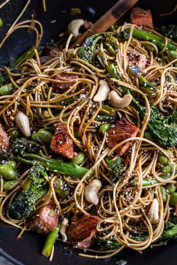 ... talk about this delish Sake and Ginger Soba Noodle Salmon Stir Fry