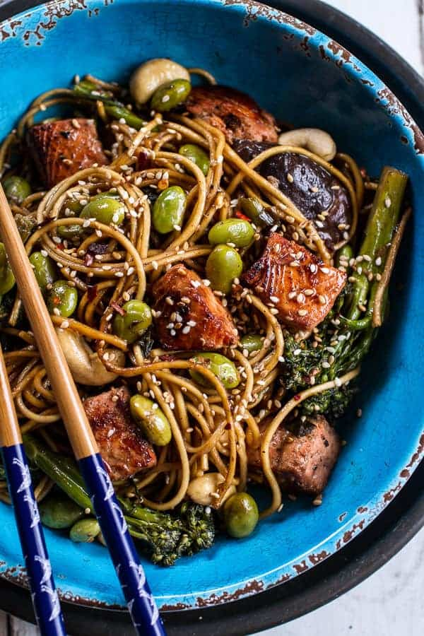 Sake and Ginger Soba Noodle Salmon Stir Fry | @hbharvest