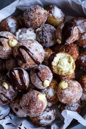 Vanilla Cream Filled Cabernet Hot Chocolate Snowball Doughnuts | halfbakedharvest.com @hbharvest