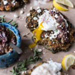 Greek Feta Chickpea Pancake Fritters with Poached Eggs + Olive Tapenade.-7