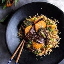 Orange Teriyaki Beef with Pineapple Edamame Fried Rice.