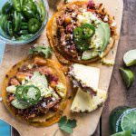 Pineapple Chicken Tinga Quesadilla Tostadas with Tequila Lime Pickled Jalapeño's.-1