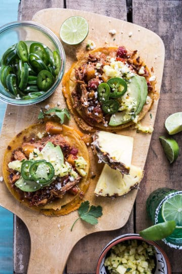 Pineapple Chicken Tinga Quesadilla Tostadas with Tequila Lime Pickled Jalapeño's.