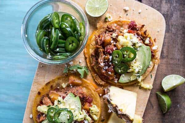 Chipotle Pineapple Chicken Tinga Quesadilla Tostadas with Tequila Lime ...