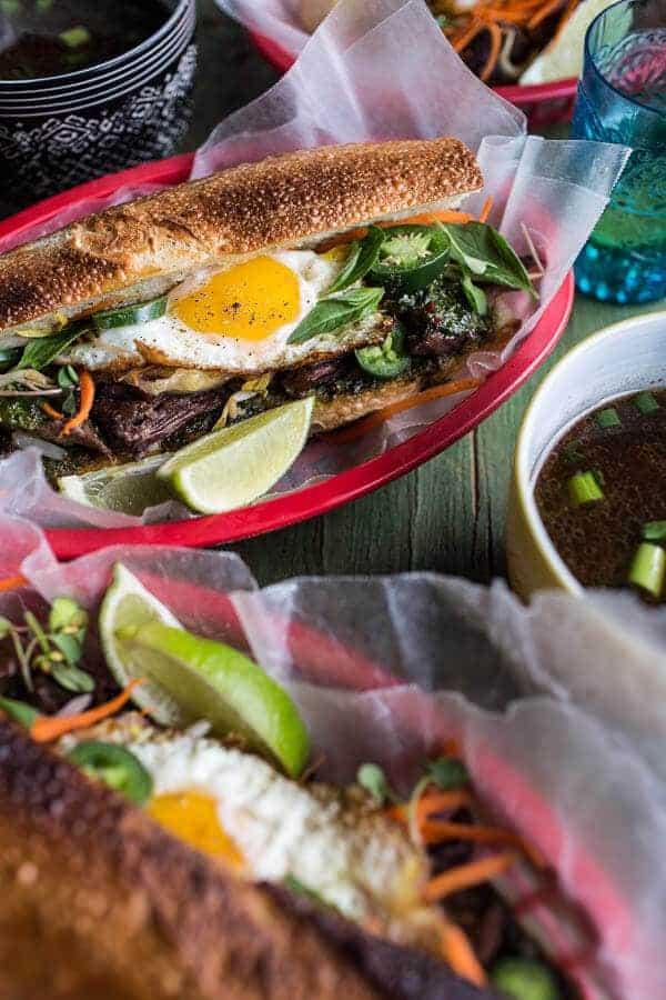 Short Rib Pho French Dip Banh Mi with Thai Basil Chimichurri | halfbakedharvest.com @ hbharvest