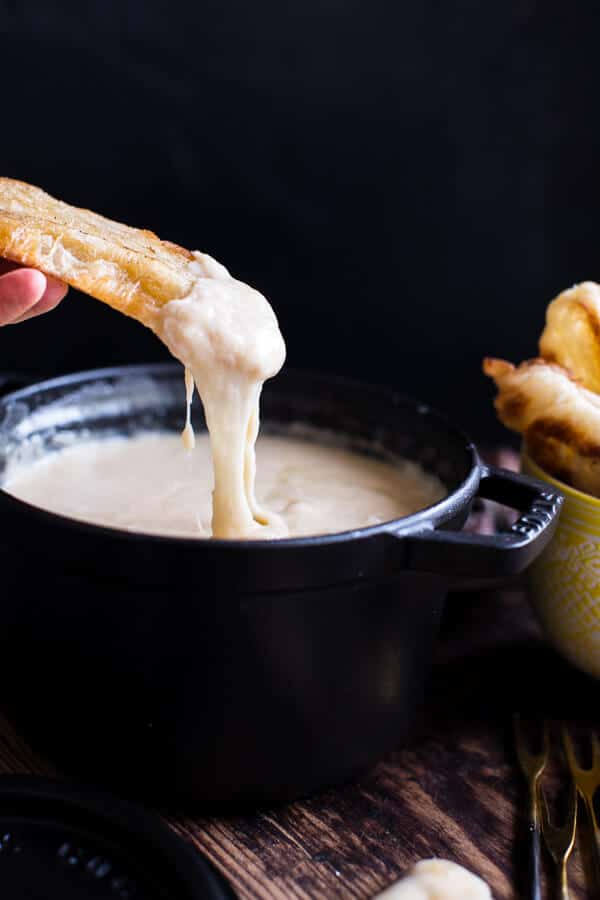 Smoky 3 Cheese Fondue with Toasted Garlic Buttered Croissants | halfbakedharvest.com @hbharvest
