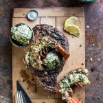 Surf and Turf: Steak and Lobster with Spicy Roasted Garlic Chimichurri Butter.