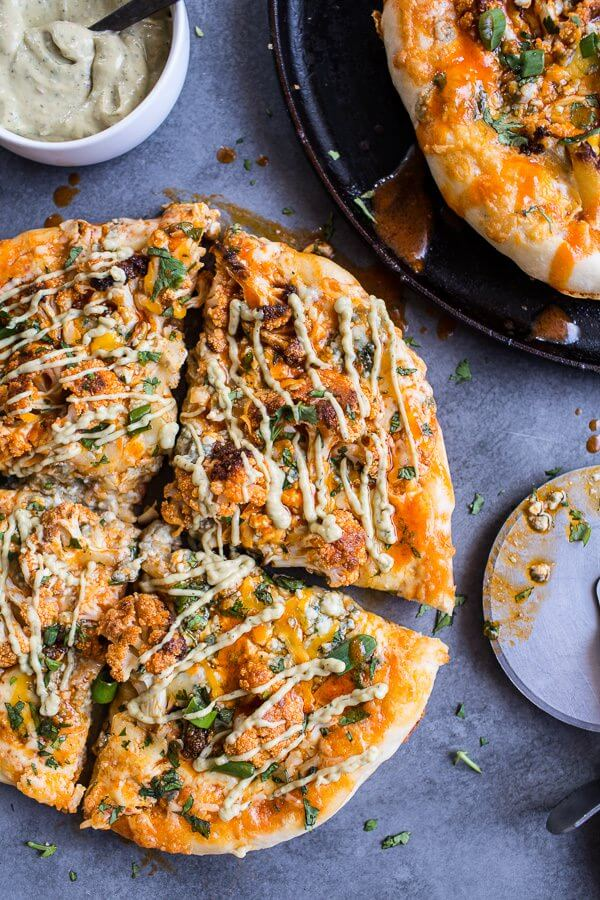 Buffalo Roasted Cauliflower Pizza with Chipotle Blue Cheese Avocado Drizzle-1