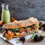 California Rainbow Veggie Sub with Goddess Dressing + Chipotle BBQ Ranch Kale Chips-1