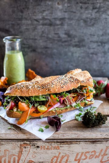 California Rainbow Veggie Sub with Goddess Dressing + BBQ Kale Chips.