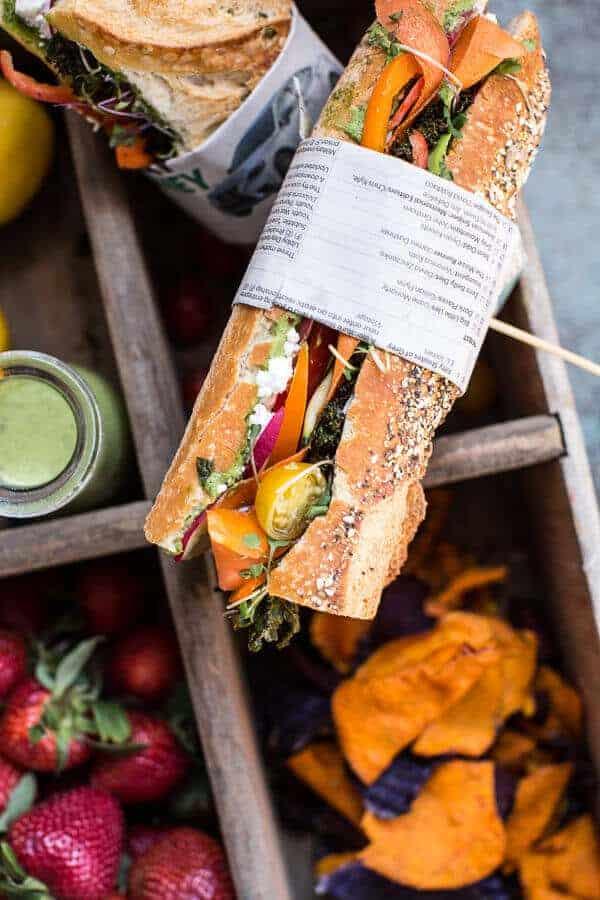 California Rainbow Veggie Sub with Goddess Dressing + Chipotle BBQ Ranch Kale Chips | halfbakedharvest.com @hbharvest