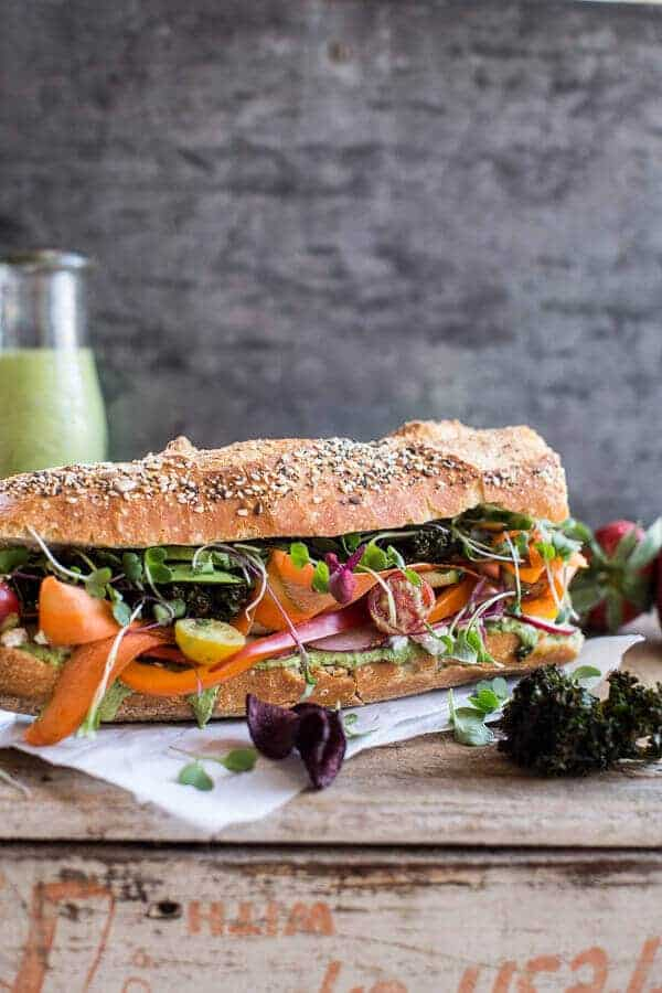 California Rainbow Veggie Sub with Goddess Dressing + Chipotle BBQ Ranch Kale Chips | halfbakedharvest.com @hbharvest