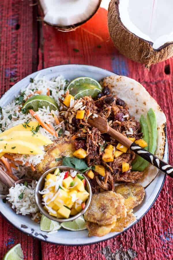 Caribbean Mango Pork and Tropical Rice Plates | halfbakedharvest.com @hbharvest