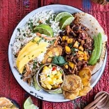 Caribbean Mango Pork and Tropical Rice Plates.