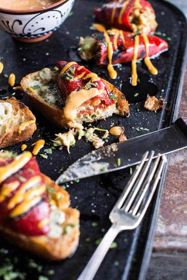 Cheesy Avocado Crab Stuffed Piquillo Pepper Ciabatta Pizzette's with Sriracha Aioli | halfbakedharvest.com @hbharvest