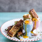 Drippy Eggs with Asparagus French Toast Grilled Cheese Soldiers.