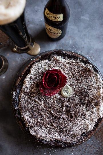 Drunken, Sunken Irish Coffee Chocolate Cake with Salted Bailey's Cream.