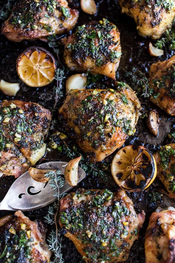 Garlic Butter Roasted Chicken Thighs with Charred Lemon Salsa Verde + Asparagus | halfbakedharvest.com @hbharvest