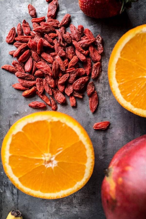 Island Mango Goji Berry Sunrise Smoothie | halfbakedharvest.com @hbharvest