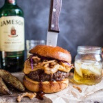 Jameson Whiskey Blue Cheese Burger with Guinness Cheese Sauce + Crispy Onions-1