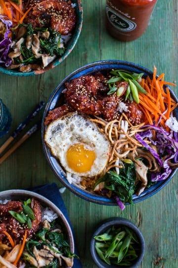 Korean Style Fried Shrimp Rice Bowls with Kimchi + Crunchy Noodles.