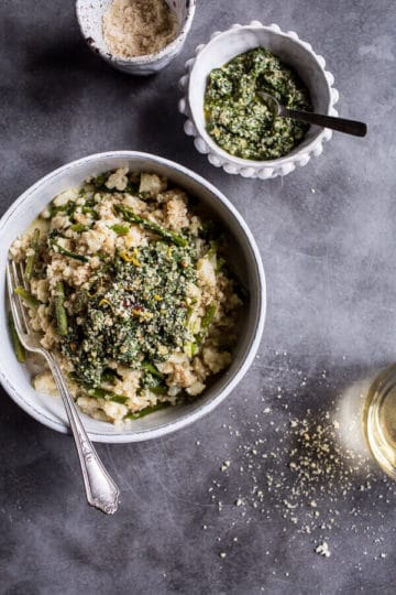 "Quick Cauliflower ""Risotto"" with Asparagus + Cilantro-Basil Hemp Seed Pesto."