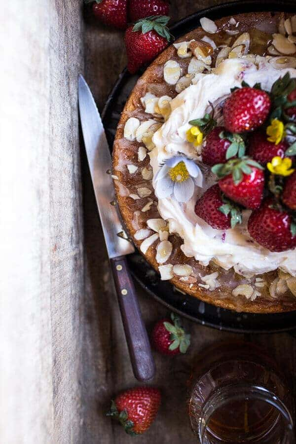Almond Honey Cake with Strawberry Ripple Cream | halfbakedharvest.com @hbharvest