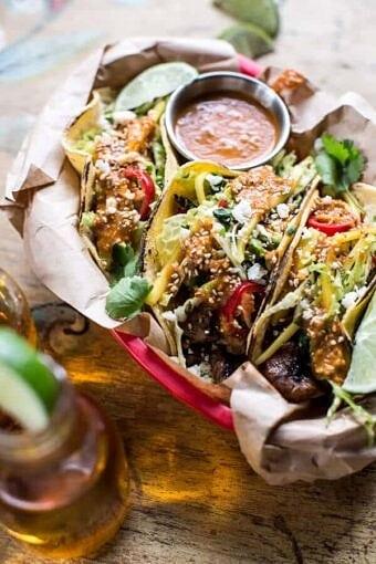 Bulgogi BBQ Pork Tacos with Charred Tomatillo Sesame Sauce + Spring Onion Slaw | halfbakedharvest.com