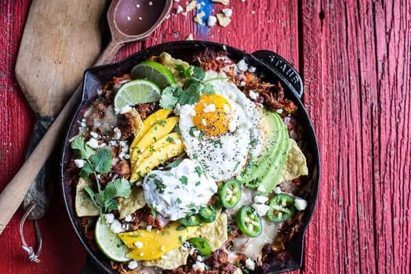Carnitas Chilaquiles with Whipped Jalapeño Cream | halfbakedharvest.com @hbharvest