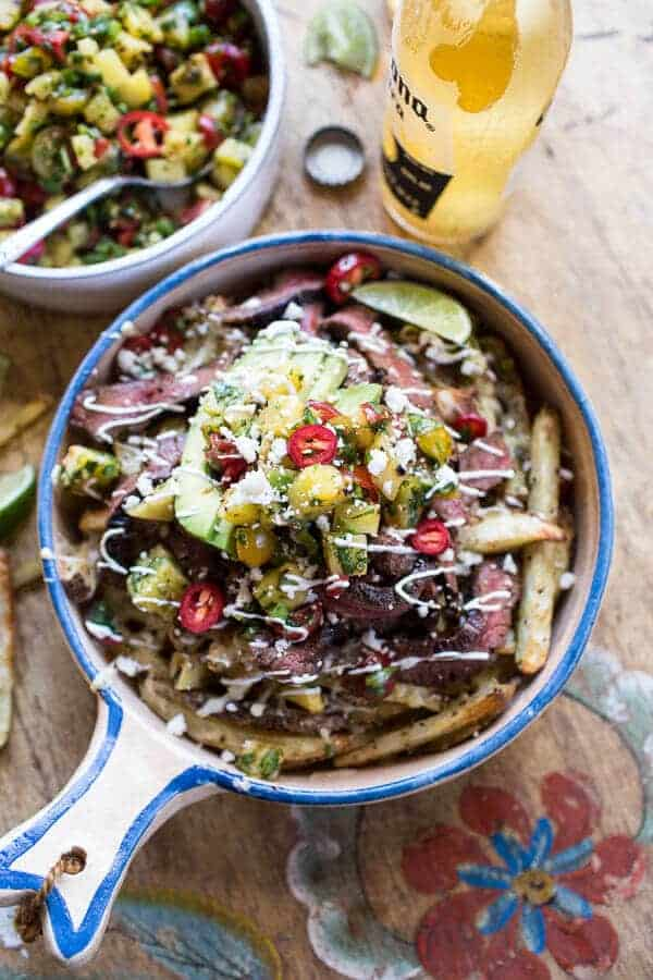 Hawaiian Carne Asada Fries with Pineapple Pico De Gallo | halfbakedharvest.com @hbharvest