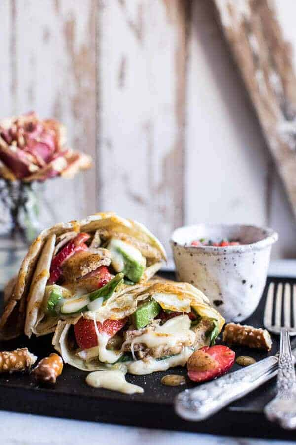 Honey Mustard Pretzel Crusted Chicken and Brie Crepes with Strawberry ...