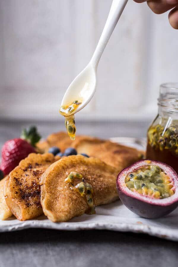 Lemon Ricotta Stuffed Syrian Pancakes with Lavender Passionfruit Syrup | halfbakedharvest.com @hbharvest