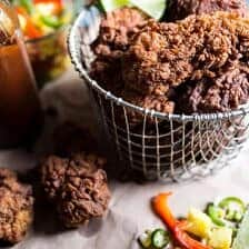 Almond Buttermilk Jamaican Fried Chicken with Pickled Pineapple Slaw.