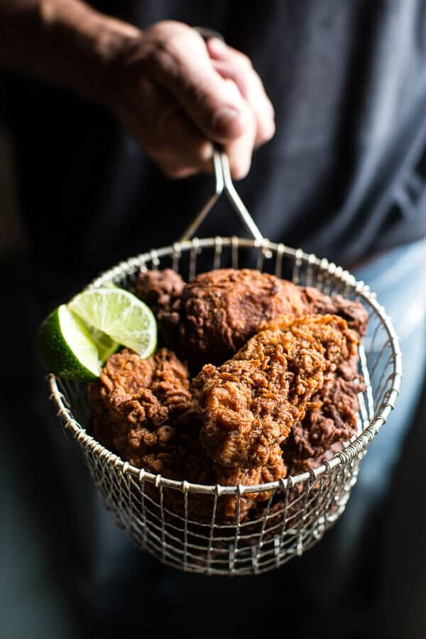 Almond Buttermilk Jamaican Fried Chicken with Rum-Pickled Pineapple Slaw | halfbakedharvest.com @hbharvest