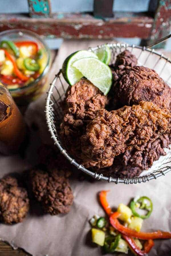 Almond Buttermilk Jamaican Fried Chicken with Rum-Pickled Pineapple ...
