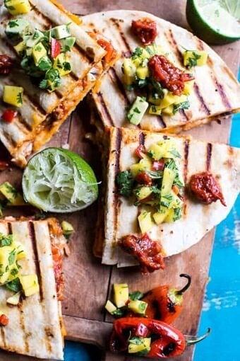 Fiesta Chicken Quesadillas with Chipotle Relish and Mango Salsa | halfbakedharvest.com @hbharvest