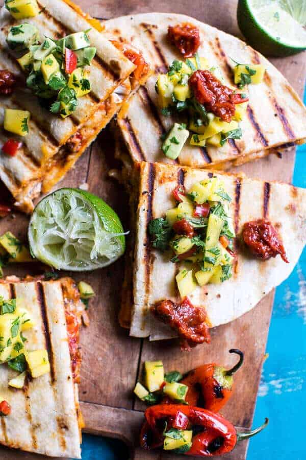 Fiesta Chicken Quesadillas with Chipotle Relish and Mango Salsa | halfbakedharvest.com @hbharvest