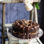 Fudgy One-Bowl Chocolate Peanut Butter Cup Pretzel Cake.