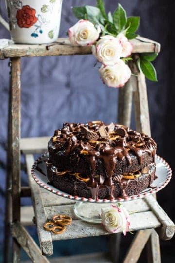Fudgy One-Bowl Chocolate Peanut Butter Cup Pretzel Cake.