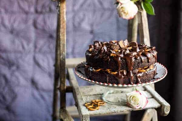 One-Bowl Chocolate Peanut Butter Cup Pretzel Cake
