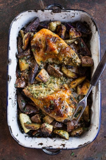 One-Pan Apricot Walnut and Brie Stuffed Chicken Breast with Roasted Potatoes.