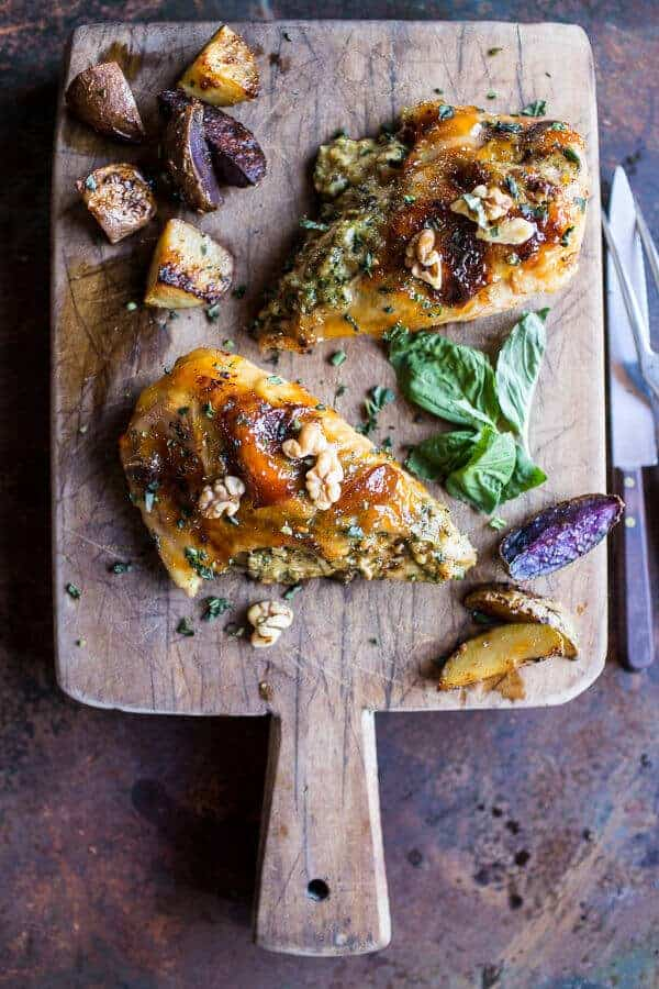 One-Pan Apricot Walnut and Brie Stuffed Chicken Breast with Roasted Potatoes | halfbakedharvest.com @hbharvest