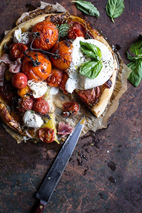 Quick Balsamic Fig Roasted Tomato and Burrata Cheese Tarts | halfbakedharvest.com @hbharvest