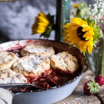Skillet Strawberry Cobbler with Cream Cheese Swirled Biscuits + Video.